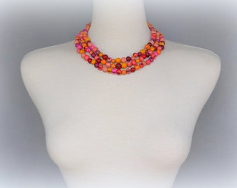 Shades of Pinks Acai Seed Necklace with Free USA Shipping #taguanut #ecofriendlyjewelry