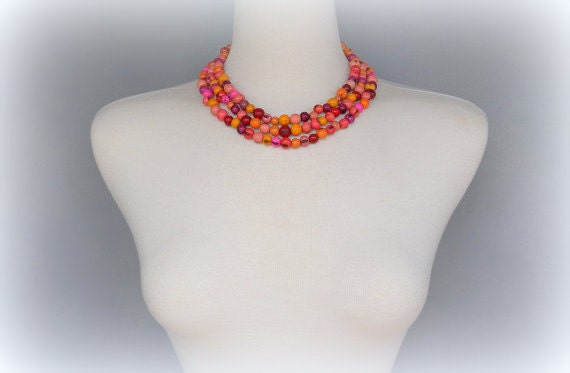 Shades of Pinks Acai Seed Necklace with Free USA Shipping