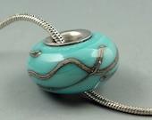 Turquoise Sky,Lampwork Glass bead,Big Hole Bead,Slider Bead,Lined BHB,fits Euro Style Charm Bracelet,charm focal bead,Euro Charm Bead