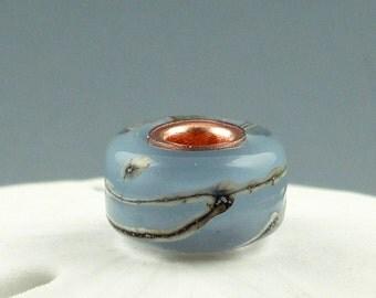 Kelpie Blue, Lampwork Glass bead, Big Hole Bead, Slider Bead, Lined BHB, Euro Style Charm Bracelet, charm focal bead, Euro Charm Bead