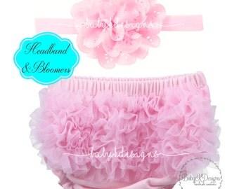 Baby Girl PINK Bloomers Headband Set Ruffle Cotton Diaper Cover Hot Pants | Shorts | Cake Smash Accessory | Flower Bow Headband Photo Prop