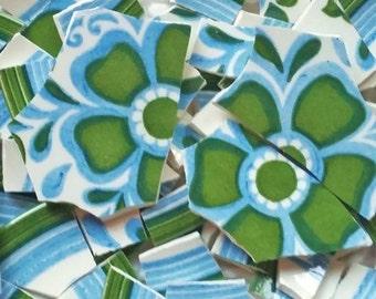 Mosaic Tiles--Retro Green Flower -Vintage 60 tiles