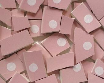 Mosaic Tiles-Pink--white Polka Dots- 60 Tiles
