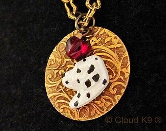 "DALMATIAN NECKLACE. Jewelry. ""I Heart"" My Dog. Engravable Charm Pendant.Suitable for Engraving.Handpainted Dalmation Jewelry Gifts for Women"