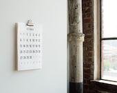 2016 Wall Calendar, Simple, Minimal, Portrait, 11x17, large numbers, Full Moon Stickers