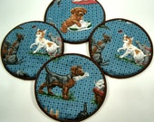 Dogs and Cats Cloth Coaster Set of 4   Set #19