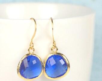 September Sapphire Birthstone Quartz and Gold Framed Dangle Earrings, Sapphire Gold Dangle Earrings, Gold Earrings #807