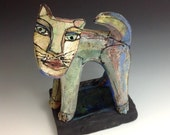 "Cat Sculpture, Art, ""Rainbow Cat, Meow"", 6-3/8"" tall x 5"" wide"
