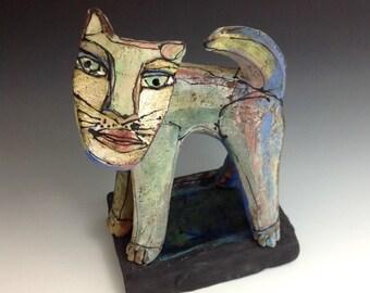 """Cat Sculpture, Art, """"Rainbow Cat, Meow"""", 6-3/8"""" tall x 5"""" wide"""