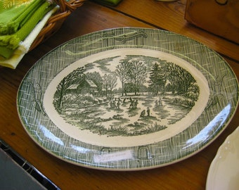 VINTAGE SCIO PLATTER Currier & Ives Green and White Winter Scene Rustic Farmhouse Chic