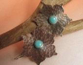 Copper Earrings, Turquoise Earrings, Mixed Metal Earrings, Lotus Flower Earrings, Sterling Silver And Copper Jewelry, Metalsmith Jewelry