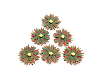 Green and Red Pointy Paper Flowers, Set of 6 Scrapbook Embellishments, Card Making Flowers