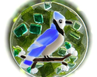 Blue Jay Suncatcher - Fused Glass