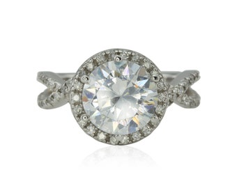 Halo Engagement Ring, CZ and Diamond Ring with Twisted Shank - LS1215