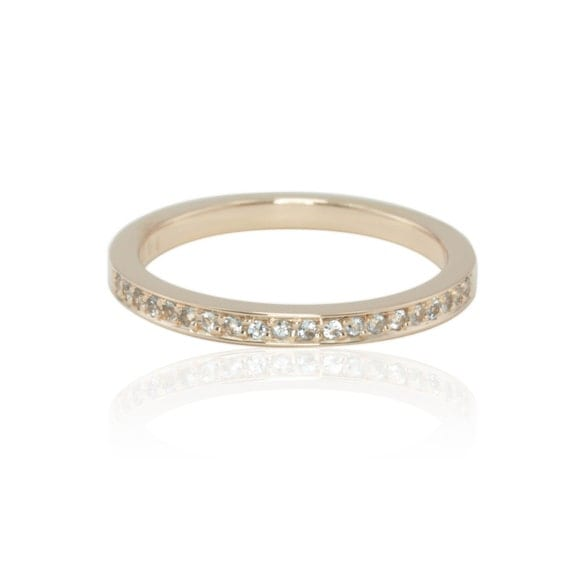 Aquamarine Ring, Aquamarine Half Eternity Ring in 14kt Rose Gold - March Birthstone - LS1812