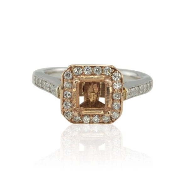 Engagement Ring, Two Tone Gold Diamond Semi-mount for Asscher, Cushion, Radiant, or Princess Cut Gemstone - LS371