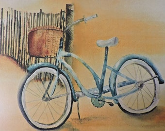 Bicycle on the Beach Painting-Art Print of My Original Watercolor Painting of Bicycle on the Beach