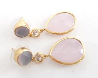 Gold plated Brass Pink quartz Earring