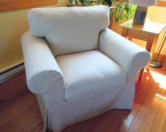Ikea Ektorp Chair Slipcover, Joy3, Cotton, Linen, Tailored Slipcover