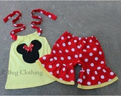 Minnie Mouse Girls Outfit, Minnie Mouse Red Yellow Girls Short & Top Outfit, Minnie Mouse Summer Vacation Outfit