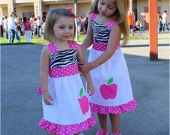 Custom Boutique Clothing Back to School Pink Zebra Apple Jumper Dress