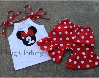 Minnie Mouse Outfit, Minnie Mouse Short Outfit, Red White Polka Dot Girls Minnie Outfit