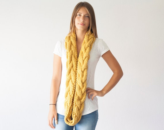Infinity scarf,loop scarf,tube scarf,neckwarmer,circle scarf,cowl scarf in Mustard Yellow