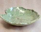 Sage Green Handmade Pottery Leaf Tray - Shallow Bowl - Soap Dish - Cat Food Bowl
