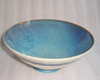 Wheel Thrown Pottery Bowl with Blue Inside and White Outside with a Green and Blue Chattered Stripes