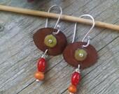 Enamel Earrings in Brown