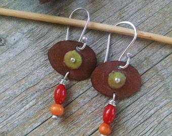 Enamel Earrings in Brown