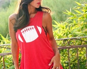 CHOOSE your symbol: Football, Baseball, Heart, Star, Soccer Ball/ Customize Your Colors/ Backless Lounge Muscle Tank/  Made in the USA