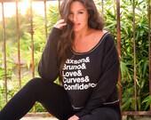 CUSTOM Your Favorite Things List Sweatshirt/  Wide Shouldered Crop Sweatshirt/ Off the Shoulder Sweatshirt/ Made in the USA