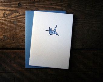 Letterpress Printed Origami Crane Card (Blue) - single
