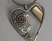 Spiral Heart Sterling Goldfilled Necklace