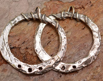 Bohemian Earring Hoops, Sterling Silver Artisan Findings, 341s