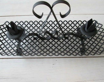 Candle holder, vintage candelabra, black metal centerpiece,  goth decor, cast iron candle holder, table decor