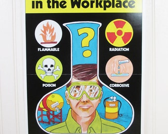 Vintage Work Safety Poster Ohio Chemical Hazards In The Workplace Poison Radiation