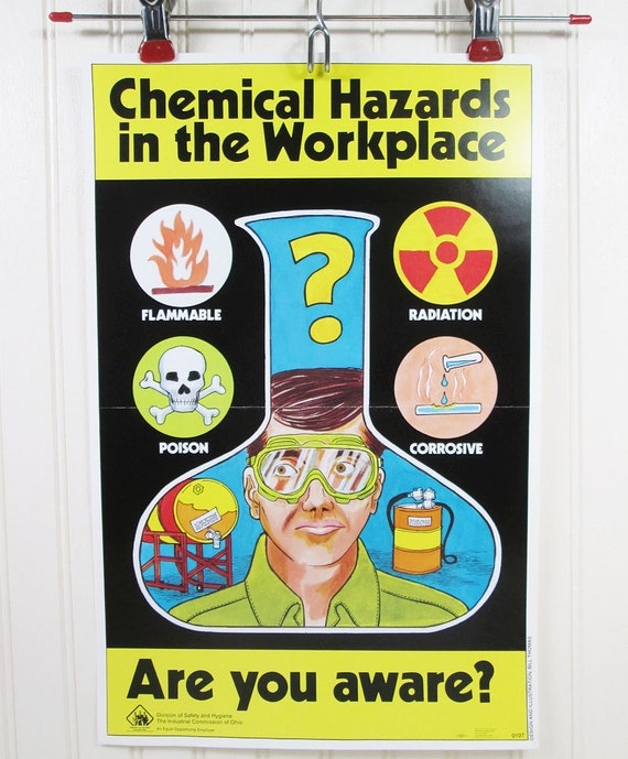 Vintage Work Safety Poster Ohio Chemical Hazards In The