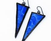 Stained Glass Earrings - Blue Triangle Earrings