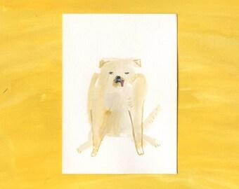 100 Hideous Hounds - No. 2 - Original Gouache dog painting