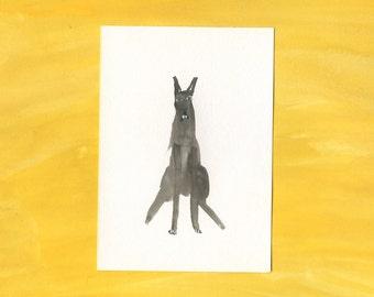 100 Hideous Hounds - No. 20 - Original Gouache dog painting