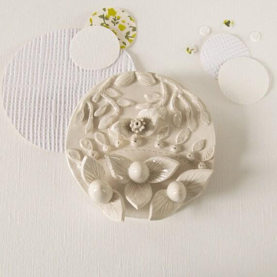 Ceramic Wall Flower Decor: Wall Decor In Ceramic Flower Medallion By Celinevoisin On Etsy