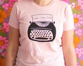 Pink Sylvia Plath Typewriter T-Shirt Womens Sizes S-XL