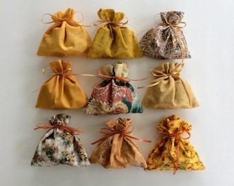 Orange Rust Bags - 9 Reusable Eco-Friendly Cotton Fabric