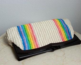 Striped Rainbow Raffia Clutch Root Beer Acrylic ROYGBIV Vintage Handbag Purse