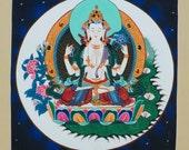 Chengreshi ORIGINAL Hand Painted Nepalese Thangka-Non Profit-Nepalese Art-Buddhist Art-Tibetan Art-Dharma Art-meditation-night sky