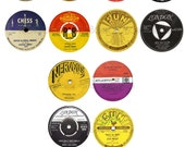 Vintage Record Labels - 4 inch - Print at Home - 50s  Party Decor- Instant Download
