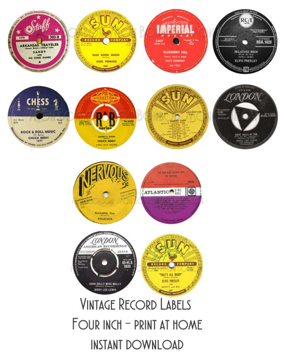 Vintage record labels 4 inch print at home 50s party for Classic house record labels