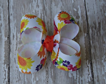 Bright Sunflower Toddler Hair Bow 3 Inch Alligator Clip Baby Hairbow Fall Harvest Sunflower Baby Bow